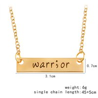 Wholesale Love Warriors - Warr;or Warrior Bar Long Necklaces & Pendants For Women Gold Silver Simple Charm Letters Chain Choker Men Cool Jewelry New Year Gifts