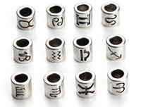 les antiquités achat en gros de-60pcs / lot 12 constellation et signe du zodiaque Design Antique Silver Spacer Spacer Perles Fit Charm Bracelet 7.5x7.5mm F3061