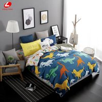 Wholesale Dinosaur Beds - Wholesale- Lifeng home 2017 New duvet cover set dinosaur bedding set duvet cover AB side bed set printing flat sheet super king bedclothes