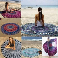 Wholesale Patterned Bath Mats - 150cm Round Beach Blanket Towel Chiffon Beachwear Shawl Mandala Peacock Pattern Tapestry Yoga Mat Over 106 Designs