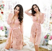 Wholesale Ladies Mesh Nightgown - M-XXL One Set Lady Romantic Full Lace Mesh Nightdress Hollow Out Half Transparent Floral Nighties Sexy Midnight Slips Lingerie Nightgowns