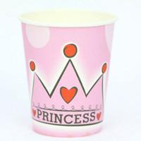 basılı parti bardakları toptan satış-Toptan-50 adet / grup prenses taç tema baskı kağıt bardak sofra doğum günü partisi için, parti içme fincan
