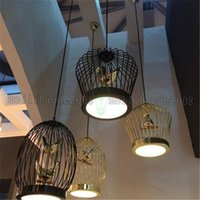 Wholesale Birdcage Style Lighting - Creative American Style Garden Birdcage Pendant Light Modern Northern Europe Cafes Pendant Lights Birdcage Villa Pendant Lamps MYY
