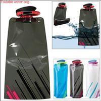 frasco de água dobrável dobrável venda por atacado-Saco de Água 700 ML Portátil Dobrável Sports Water Bag OutdoorClimbing Dobrável Esportes Garrafa De Água Com Pothook YYA218