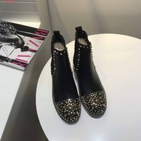 Wholesale Black Alligator Boots - 2017 winter High End Customization Fashion Personality Women's ankle boots Convenient slip-on casual Rivet Martin boots