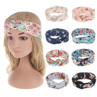 Wholesale Ladies Fabric Headbands - 2017 quality new hair accessories Bohemian headband printing cotton cross hair band, ladies hair bands European and American headdress 9 col