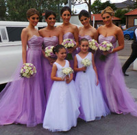 Wholesale Taffeta Empire Waist Bridesmaid Dresses - Sweetheart Bridesmaid Dress with Empire Waist, Beautiful Lavender Bridesmaid Dresses, Pleated Taffeta Top Tulle Skirt Bridesmaid Dresses