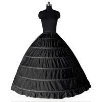 Wholesale Brides Underskirt - Ball Gown Large Petticoats 2017 New Black White 6 hoops Bride Underskirt Formal Dress Crinoline Plus Size Wedding Accessories