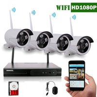 4-Channel HD 1080P Kit sem fio Sistema de Câmera de Segurança IP (IP Wireless WIFI NVR Kits), 4Pcs 2.0 Megapixel Wireless Indoor / Outdoor Built 1T HD