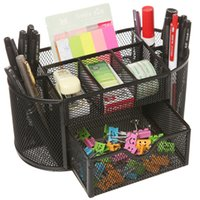 Wholesale Stationery Organiser - 2017 New Desk Tidy Mesh Set Office Tidy Organiser Desk Caddy Tray Multi-functional Pencil Pot Pencil Holder