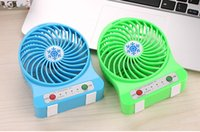 Wholesale Plasma Tables - Mini Protable Fan Multifunctional USB Rechargerable Kids Table Fan LED Light 18650 Battery Adjustable 3 Speed Snow cool Multi Color With Box