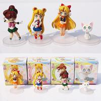 Wholesale Venus Figure - 4pcs set Sailor moon Tsukino Usagi Venus Jupiter Artemis Cat PVC Figure Toy With Gift Box Free Shipping