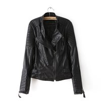 Wholesale Women S Leather Biker Jackets - Motorcycle PU Leather Jacket Ladies Autumn Coat Zipper Cool Overcoat Women Biker Tops Outwear Brand Fall Spring Clothing Casual Clothes