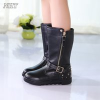 Wholesale Child Patent Boots - amazing designer children boots classic stylish girls mid-calf boot kids shoes autumn ankle buckle strap zipper chaussure fille