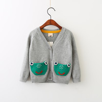 Wholesale Girls Frogs Clothing - Everweekend Girls Sweet Knitted Cardigans Western Fashion Frog Sweater Jacket Outwears Candy Color Sweet Children Clothes