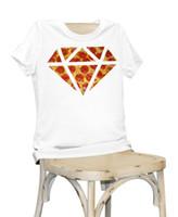 Wholesale Ladies Diamond Shirt - Women Lady Girl diamond shape pizza Print Beauty T-shirt Funny T Shirts Short Sleeve Tee Shirt Tops Clothes Women's Summer T-Shirt