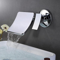 Wholesale Unique Bathroom Sinks - Unique Desin Wall Mounted Bathroom Sink  Tub Faucet Hot and Cold Water Mixer Tap Brass Chrome Finish Waterfall spout Single Handle