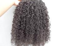 verlängerung haar schwarze lockige stücke großhandel-brasilianische menschliche Jungfrau Haarverlängerungen 9 Stück Clip in Haar verworrene lockige Frisur dunkelbraun natürliche schwarze Farbe