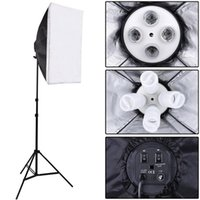 Wholesale Photo Socket - Wholesale- Photo Studio Kit Photography Lighting 4 Socket Lamp Holder + 50*70CM Softbox +2m Light Stand Photo Soft Box VL-9004