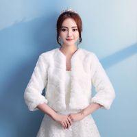 Wholesale Elegant Wedding Bolero - 2017 Elegant New 3 4 Long Sleeves Faux Fur Wedding Jackets Women Winter Fur Wraps Warm Cape for Bride Dresses Fur Bolero Wedding Cloak Cheap