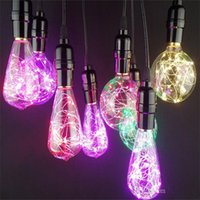 Wholesale Retro Green Lamp - Wholesale star RGB led bulbs G125 G125 G95 ST64 retro ball bubble copper wire lamp color decoration bulb foreign trade