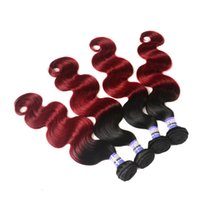 Wholesale Two Tone Colored Brazilian Hair - Ombre Peruvian Hair Bundles body wave 1b Burgundy 99j Brazilian Human Hair Weave Two Tone Colored Hair Wefts Extensions