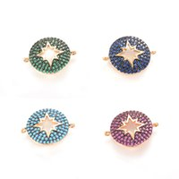 Wholesale Outlet Charms - 4 Colors Factory Outlet ECO-Friendly Inlay Hollowed Starburst Round Shape Micro Pave Charm, CZ Pave Connector, ICSP036, Size 25.6*21 mm