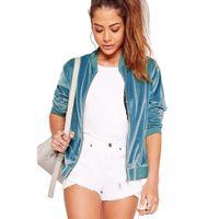 Wholesale Blue Baseball Jacket Women - Wholesale- AZULINA Velvet Casual Women Bomber Jacket Long Sleeve Zipper Short Slim Female Blue Corduroy Basic Jackets Baseball 2017 Spring