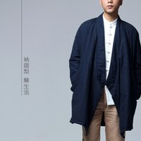 Wholesale Chi Long - Wholesale- Mens Casual Long Coat Parkas Jacket 100% Cotton Chinese Traditional Style Zen Kung Fu Tai Chi Clothes Nakali Blue N8007