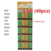 Wholesale Lr521 Button Cell - 40pcs 1 lot AG0 LR521 LR69 379 379A SR521 L521 LR63 1.55V Alkaline Button Cell Battery coin batteries Free Shipping