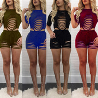 Wholesale Climbing Holes - 4 Colors Woman Casual Sets 2017 Woman Summer New Fashion Solid Color Sexy Hollow Hole O Neck Short Sleeve Tops 2 Piece Suits