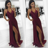 Wholesale Sexy Coral Party Dresses - Fashionable sexy cocktail party dress, 2017 new fine wine red v-neck high quality fabric high-end evening gown with a thigh quality dress