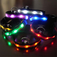 Wholesale nylon pets - Pet Dog Collar LED Flash Collars Dog Cat Collars Flashlights Dibo America Huskies Teddy Large Dog Collars S M L XL Emitting LED Pet Supplies