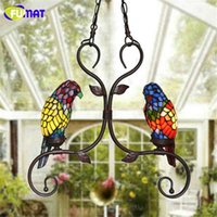 Wholesale parrot chain - FUMAT Tiffany Pendant Lights Indoor Garden Corridor Pendant Lamp Creative Art Stained Glass Parrot Suspension Lamp Caffee Bar Lamp