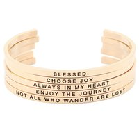 Wholesale Hand Bracelet For Women - New arrival! Rose Gold Stainless Steel Engraved Positive Inspirational Quote Hand Stamped Cuff Mantra Bracelet Bangle for Women
