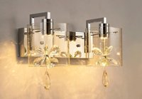Wholesale Light Fixture Shade Crystals - Modern Butterfly Crystal LED Wall Sconces Lights Glass Shade Wall Lamps Hallway Balcony Bedroom Bedside Fixtures Lighting LLFA