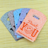 Wholesale thank for christmas gift - Wholesale-100pcs 9x15cm small plastic gift bags smile thank you color random color plastic Pouches for jewelry Boutique gift