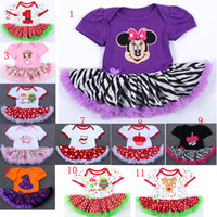 Wholesale Dress Lace Rompers Baby Girl - 2017 New Baby Christmas Xmas Mickey rompers suits happy birthday Newborn national flag girl Lace rompers leopard dress 11 Design