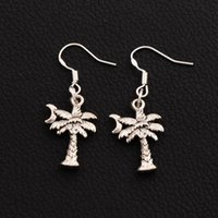 Wholesale Earring Coconut - Coconut Tree With Moon Earrings 925 Silver Fish Hook 30pairs lot Antique Silver Chandelier E413 38.7x14.1mm