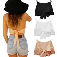 Wholesale Cheap Crochet Tops - Wholesale- Hot New Sexy Women Summer Backless Camisole Cropped Crochet Halter Top Bralette Shirts Bralet Blusas Strappy Crop Tops Cheap Z3