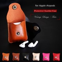Wholesale Ear Covers Protector - For Apple Airpods Air Pods Leather Case Protective Cover Pouch Anti Lost Protector Elegant Sleeve Strap Fundas Accessories