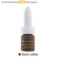 Al por mayor-Golden Rose Profesional cejas tatuaje Ink Lips Maquillaje permanente Pigmento Dark Coffee Paint 10ML 3 piezas / lot colores mezclados