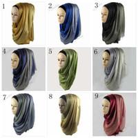 Wholesale Wholesale Hijab Pashmina Scarves - Women Muslim Silk Scarfs Winter Wraps Foulard Viscose Hijabs Scarves shawls Hijab Scarves Long Scarf Half Silver Glitter 29 colors YYA444