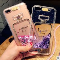 Wholesale Blue Bottles For Liquid - Perfume Bottle Glitter Quicksand Dynamic Liquid Clear Case Led Calls Flash tpu Transparent back cover For iPhone 5S 6 6S 7 8 Plus