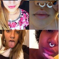 Wholesale ring alexandrite - Fashion Nose Ring AAA Crystal Nose Hoop Nose Rings Body Piercing Jewelry Fake Septum Clicker Non Piercing Hanger Clip On Women Body Jewellry