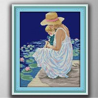 Wholesale fish canvas painting resale online - Mother and son watching fish handmade painting counted print on canvas DMC CT CT diy Cross Stitch Needlework Sets Embroidery kits