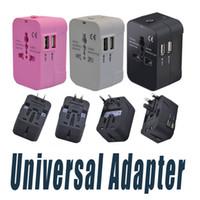 Wholesale Usb Plug Converter - All in One Universal International Plug Adapter Dual USB Port World Travel AC Power Charger Adaptor with AU US UK EU converter Plug
