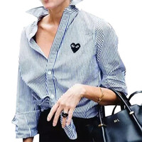 Wholesale Blouse Hearts - women elegant striped heart embroidery blouses full cotton long sleeve loose shirts turn-down collar casual tops blusas LT959