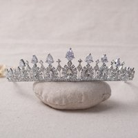 Wholesale Beaded Headpieces - Sparkling Rhinestones Wedding Crowns Beaded Bridal Tiaras 2017 Princess Girls Headpiece Headbands For Party Pageant Crowns Cheap Wholesale