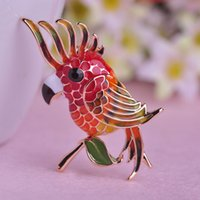 Wholesale Gold Animal Jewelry Wholesale - Wholesale Enamel Birds Brooches For Women Men Kids Dress Accessories 18K Gold Plated Animal Collar Clip Lapel Pins Jewelry